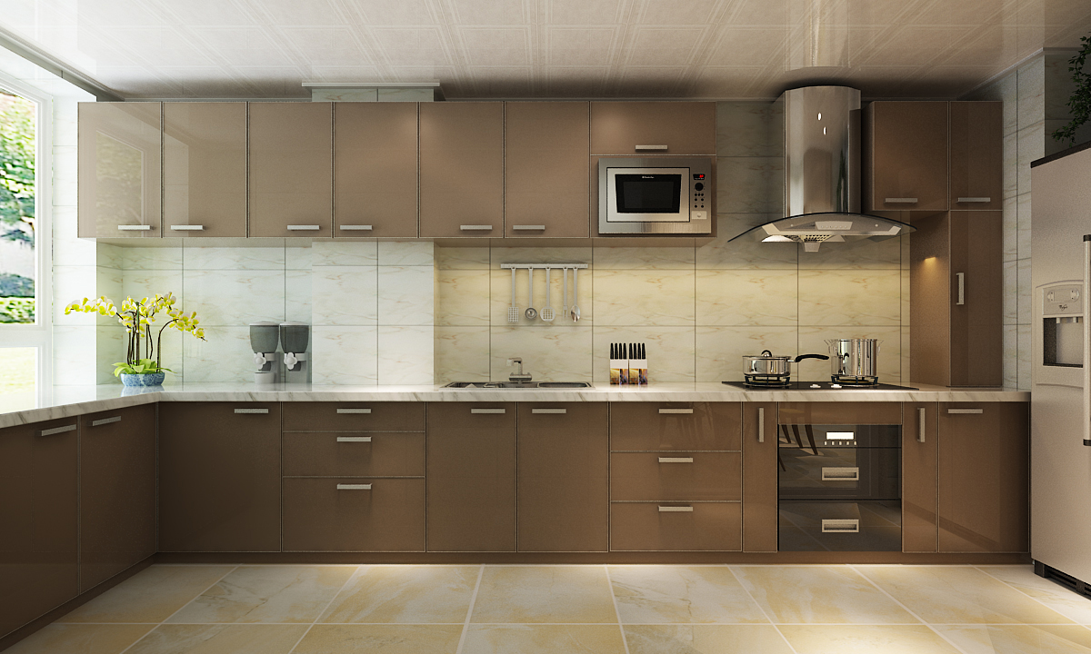 L Shaped Kitchen Designs  Modular Kitchen - Flapto